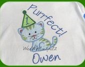 Boys Kitten Birthday T shirt or Bib Girls Boys Applique Personalized 1st 2nd 3rd Cat