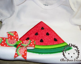 Watermelon slice appliqued onesie or t-shirt
