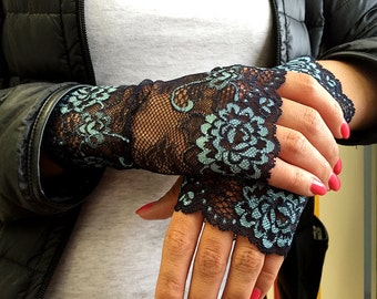 Lace Gloves , stretch lace, fingerless lace gloves in Dark Blue with Blue FloralPattern.  Ready to ship.