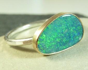 Blue Green Opal set in 14K gold