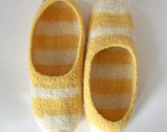 The Adrienne - Wool Felted Slipper - Yellow and Cream - Stripes - Sunshine - Woman's Houseshoe - MADE TO ORDER
