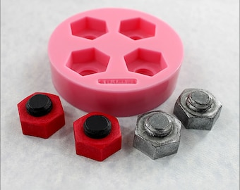 Nut Bolt Mold Steampunk Industrial Silicone Mold Fondant Resin Polymer Clay Candy Chocolate (356)
