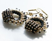 Romantic Boho Chic circle Hoops earring tiny black gold beige seed beads Toho finished with gold plated hooks.  Valentine's day