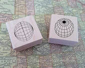 latitude and longitude - set of two wood mounted rubber stamps by Mary C. Nasser for RubberMoon - MN4