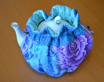 Cotton Quilted Tea Cosy, Tea Cozy, 4-6 cups, turquoise purple blue Kitchen, Tea Party Decor