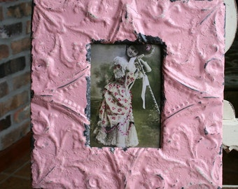 Genuine Antique Ceiling Tin Picture Frame -- 4 x 6 -- Pink Colored Paint -- Pretty Victorian Design
