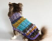 Bobble Butt, Violet, Tweedy yellow, turquoiseChihuahua Dog Sweater, size L