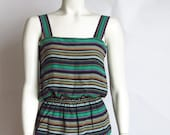 vintage 70s Bill Blass silk cami tank top blouse striped peplum extra small