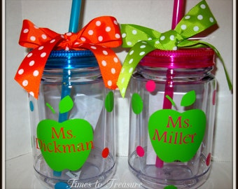Personalized Acrylic Mason Jar Tumblers Teachers, Friends, Moms, Children  BEACH