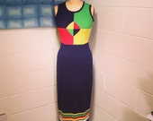 Vintage Navy & Citrus Color Block Knit Maxi Dress Mod Medium