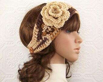 Crochet headband, boho head wrap, ear warmer - brown beige honey gold - women's winter accessories - Sandy Coastal Designs - ready to ship