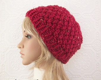 Knit hat beanie - faded red - handmade Women's Accessories Winter Fashion Winter Accessories by Sandy Coastal Designs - ready to ship