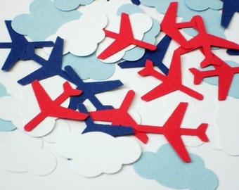 50 Airplane and Cloud Confetti, Airplane Party Decorations, Birthday Party, Baby Boy Shower Confetti - No729