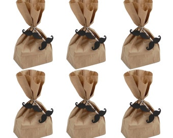 Party Favor Treat Bags with Mustache Twist Ties, Treat Bags, Father's Day Party Decorations - No1093