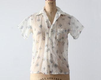 vintage 50s nylon shirt by Paddle and Saddle