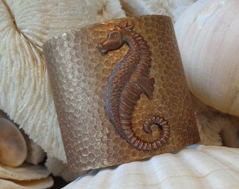 SALE Toasted Tropics  Seahorse Cuff Bracelet, Rich Layers of Caramel Antiqued Brown Hues, Textured, Comfy Weight, Adjustable Versatile OOAK