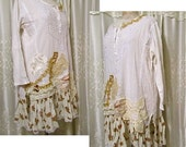 Shabby Tunic Long, romantic lace, ruffle hem, artist smock, creme cotton gauze fabric blouse, long sleeves, altered clothing, LARGE