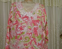 Pink Tunic Top, long sleeve lace embellished, romantic womens plus size clothing, 3X LARGE