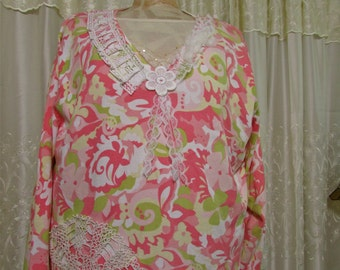 3X Pink Tunic Top, long sleeve lace embellished,  womens plus size clothing, 3x LARGE