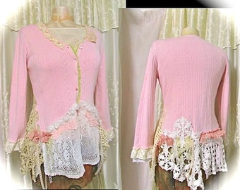 Shabby Pink Sweater, romantic lace doily sweater embellished, womens altered clothing, shabby cottage chic