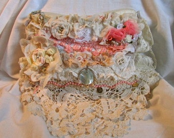 Shabby Romantic Purse, handmade victorian pouch, layered ruffled frilly laces, handheld bridal clutch wedding bag, chic shabby cottage chic