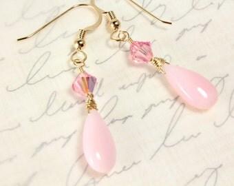 Pink Peruvian Opal Earrings, Swarovski Crystals, Gold Filled, Teardrop Opals, October Birthstone, Bridal Earrings, Breast Cancer Awareness