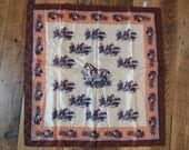 Vintage Fashion  Scarf  from Japan in Brown  Orange Chocolate and Cream  with Horses and Carriages Print