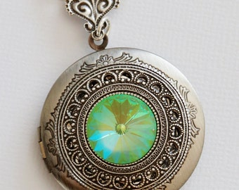 swarovski crystal green silver locket,Silver Locket,Locket,Silver Chain,Locket Necklace,Wedding Necklace