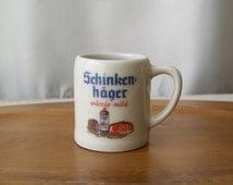 Vintage Toothpick Holder Advertising Mug Bavarian Porcelain Toothpick Holder Pub Wares Mustard Server 1960s