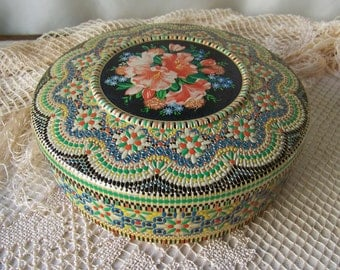 Vintage Embossed Tin Made in Holland Sewing Tin Kitchen Tin Colorful Container Vintage 1970s