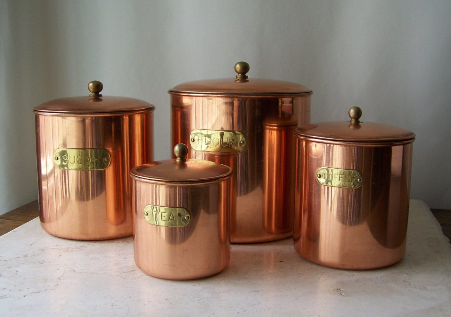 Vintage Copper Canister Set Brass Label Stainless Steel