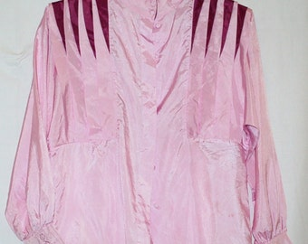 80's Pink Secretary Blouse with purple insets