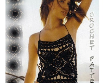 Vintage Crochet Backless Pineapple Motifs Top Cover Up PDF Files