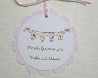 10 Pink White Personalized Polka Dot Baby Shower Tags - Baby Tags - It's a Girl Tags - Onesie Tags - Gift Tags - Baby Clothes Tags