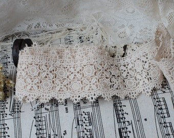 Cotton Lace -2.5 Yards Ligth Beige Vintage Country Style Flower Lace Trim(L546)