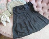 Vintage Black Petticoat Slip Lace Trim S68