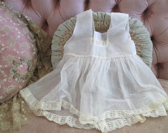 Darling Baby Girl Toddler Dress 2-3 Year Old Semi Sheer Crochet Trim With Bow B12