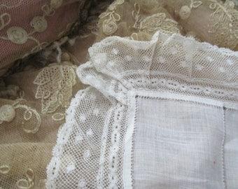 Antique Ivory Thin Linen Ruffled Bobbin Lace Wedding Hankie