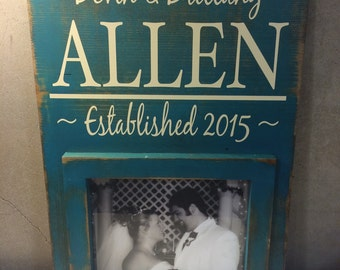 8x10 Custom Picture Frame Family Name Established Baby Name