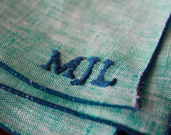 Monogrammed Pocket Square: Mint with Navy Piping