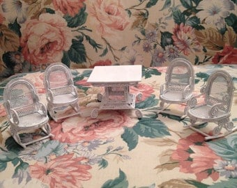 Adorable Mini Bright White Metal Wicker Look Alike Doll Furniture, Four Rocking Chairs, Square Table