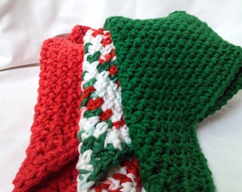 Crochet Dishcloths - Christmas Colors - 3 Cloths