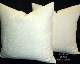 Decorative Pillows, Accent Pillows,Throw Pillows, Pillow Covers,16 inch Pillows, Decorative Cushions - Set of Two - Ivory