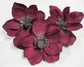 Magnolia Blooms Floral Supply Set of Three Fabric in a Deep Rose or Magenta Color Shade Used Supply For Home Decor for Centerpiece Wreath
