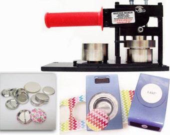 """1-1/2"""" Tecre Button Maker Machine + EK Success Punch + 100 Pinback Parts"""