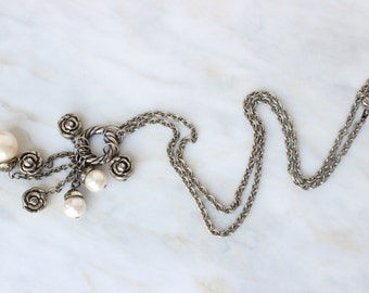 90s - Charm - Pendent - Necklace - Pearl - Flower - Silver - Chain - Cascade - Pendant