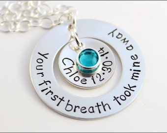 Personalized Sterling Silver Necklace for New Mom   Your First Breath Took Mine Away Washer + Name & Birthday Pendant