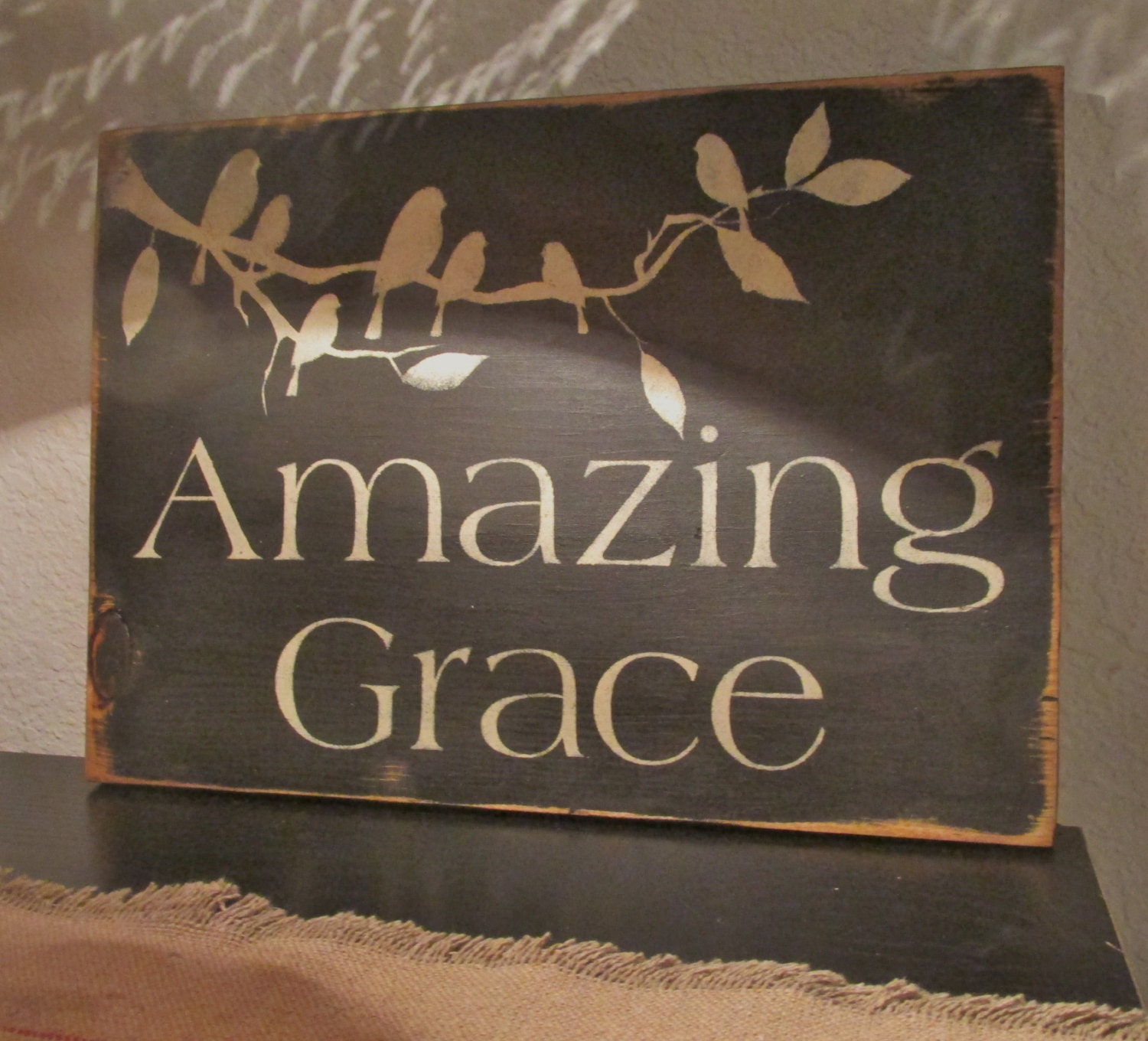 Amazing Grace: Amazing Grace Sign Primitive Shabby Chic Birds Home Decor