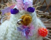 Crochet Chicken- SASSY-Yellow PUNK CHICKen Amigurumi with Piercings-Toy Stuffed Chicken Plush-Chicken Decor - Chicken Pincushion-Crochet Art