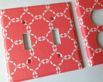 Coral Damask Double Light Switch Plate Cover/ Coral Nursery Decor / Coral Decor / Coral Home Decor / Coral Bedroom Decor / Teen Room Decor